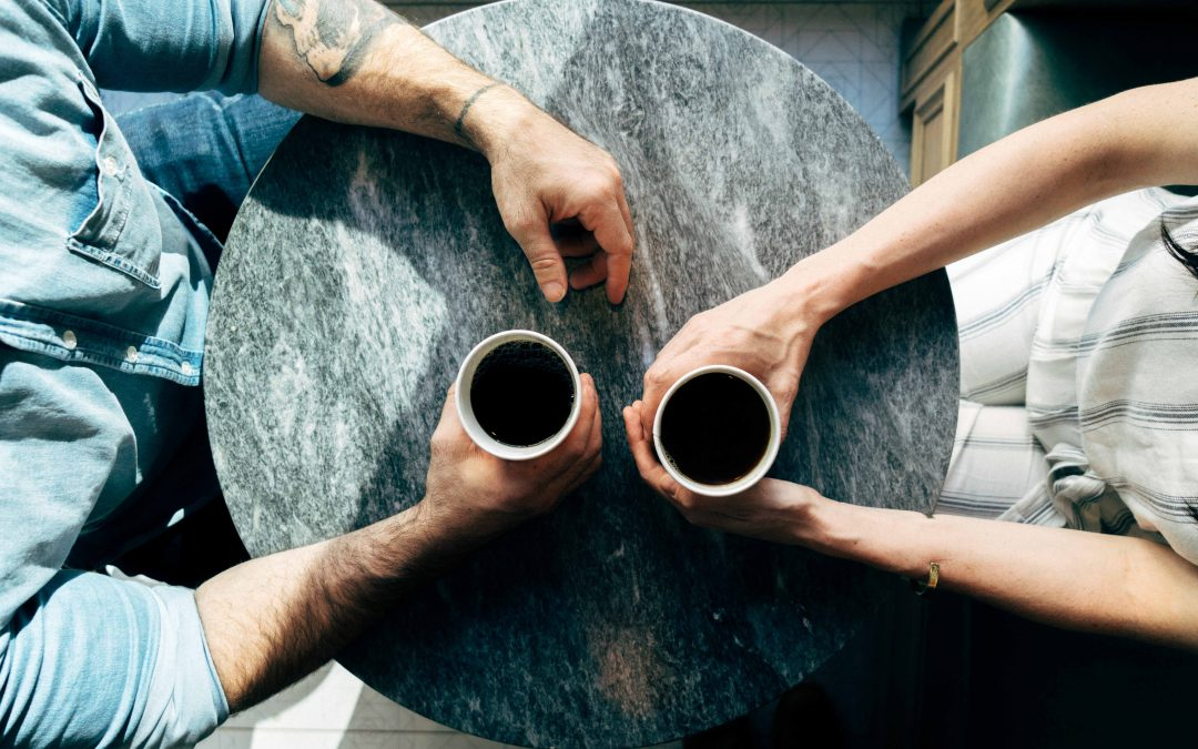 intergenerational conversation over coffee